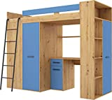 FurnitureByJDM High Sleeper Bed with Desk, Wardrobe and Bookcase - VERANA L -