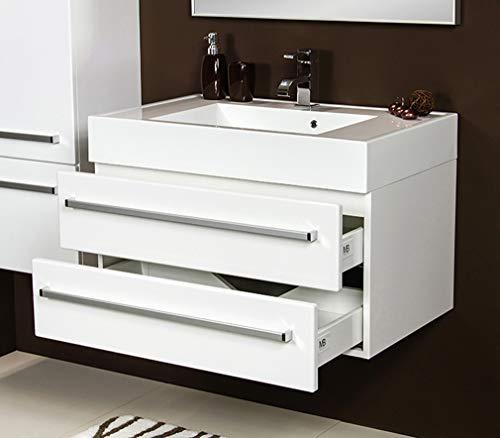 Quentis Badmöbel Aruva, Breite 80 cm, Waschbecken und Unterschrank, 2 Schubladen, Softeinzug, weiß glänzend, Waschbeckenunterschrank montiert