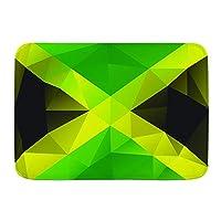 NIESIKKLA バスマット、ジャマイカの三角形のポリゴンデザイン抽象的な旗幾何学的な国のシンボル、マット滑り止め ソフトタッチ 丸洗い 洗濯 台所 脱衣場 キッチン 玄関やわらかマット 45x 75cm