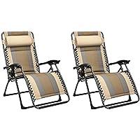 AmazonBasics - Set de 2 sillas de playa acolchadas para exteriores con gravedad cero - 165 x 74,9 x 112 cm, de color beis