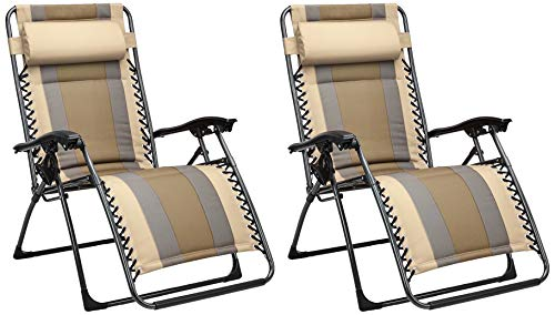 Amazon Basics Outdoor Padded Zero Gravity Lounge Beach Chair - Pack of 2