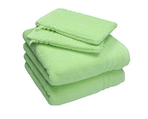 Betz Lot de 2 Serviettes de Toilette 50x100 cm et 2 Gants 16x21 cm 100/% Coton Couleur Vert