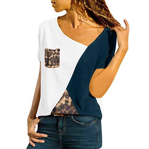 Fannyfuny Damen Casual Leopard Patchwork Farbblock Langarm T-Shirt Asymmetrischer V-Ausschnitt Langarmshirt Tops Sweatshirt Tunika Top Pullover Bluse Oberteil