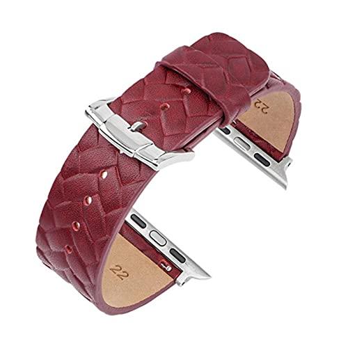 Correa de cuero para Apple Watch, pulsera trenzada para hombres y mujeres para iWatch Series SE / 6/5/4/3/2/1, rojo, para 38 mm 40 mm