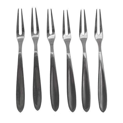Fackelmann Set 6 forchettine per Pesce e lumache in Acciaio Inox 12,5cm, Legno, (Colore: Argento), quantità: 1 Pezzo