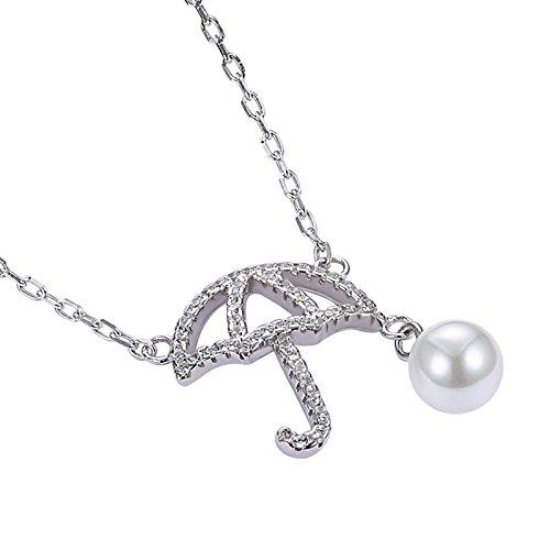 Beydodo 925 Silber Halskette für Frauen Silber Regenschirm mit Perle Zirkonia Anhänger Kette Silber Damen Weihnachtsgeschenk