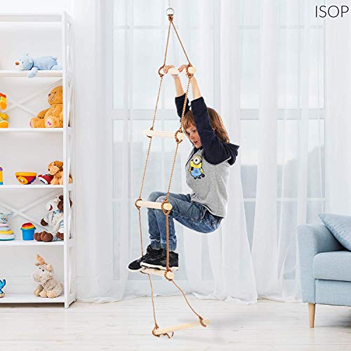 ISOP Swing Set Rope Ladder for Kids 10ft (3m) and Adults - Treehouse Ladder for Children - Exercise Climbing Equipment - Suitable for Bunker or Loft