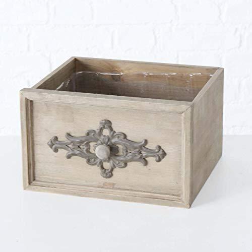 Deko Pflanzbox Schublade Igor zum Bepflanzen mit Blumen oder Kräuter. Origineller Holz Pflanztopf im romantischen Shabby-Stil, Blumenkübel im Vintage Look, Maße (H x B x T): 17 x 29 x 26,5 cm