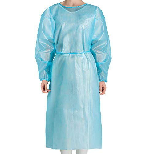 JMU Disposable Isolation Gowns Non Woven,Disposable Protective Clothing 10Pcs Elastic Cuffs Isolation Gowns Blue for Women Men Large Size