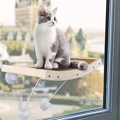CatRomance Hamaca de Gato para Ventana, Hamaca para Rascador de Gatos con Ventosa de Perilla Resistentes para Mascotas, Grandes para Tomar la Siesta y Tomar el Sol, Soportar hasta 18kg
