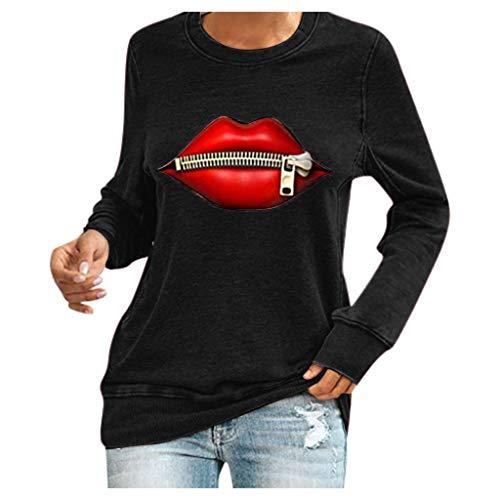SEWORLD Gedruckte Sweatshirts Basic Einfarbige mit Ballon Muster Sportliche Shirts Kuschelige Sweatshirts Damen Sportspulli Herbst Winter Lässige Bequeme Langarmshirts