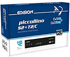 Edision PICCOLLINO S2+T2/C, ricevitore combo H265/HEVC 10 Bit (DVB-S2, DVB-T/T2, DVB-C), full HD, USB, colore nero