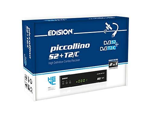 Edision PICCOLLINO S2+T2 C, ricevitore combo H265 HEVC 10 Bit (DVB-S2, DVB-T T2, DVB-C), full HD, USB, colore nero