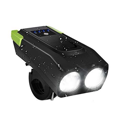 ACECYCLE Luz de Bicicleta Recargable USB, Capacidad de la Batería de 4000mAh, 3 Modos de Iluminación 5 Sonidos Impermeable, ángulo de Haz Ancho, 800 lúmenes T6 LED Carretera Montaña Cámping Ciclismo