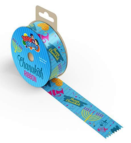 Hanukkah Gift Wrap Ribbon - Blue Nylon Wrapping Paper Ribbon - 25mm x 3mm