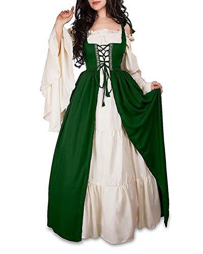 Damen Mittelalterliche Kleid mit Trompetenärmel Mittelalter Party Kostüm Maxikleid Grün M