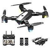 3T6B Drone Caméra 4K, Drone Caméra 1080P Pliable, Hauteur Fixe avec Pression dAir,Transmission WiFi en Temps Réel,Contrôle Gestuel,Retournement à 360,Deux Batteries modulaires,pour Les Débutants