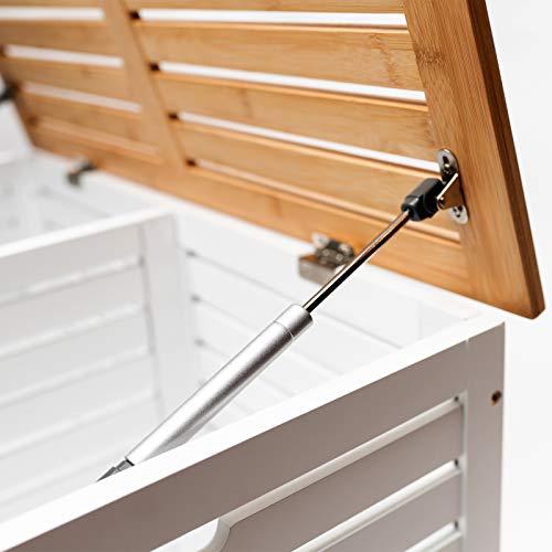 Limal Wäschesammler mit 2 Kammern Bambus Wäschekiste Wäschetruhe Wäschekorb mit Deckel weiß 60 x 70 x 55 cm - 5