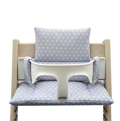 Blausberg Baby – hochwertiges Tripp Trapp Sitz-Kissen Set für Stokke Hochstuhl - 2-teilige Auflage/Polster/Sitzverkleinerer für Kinderhochstuhl – DIVERSE FARBEN (Grau/Touch Hellbau Sterne)