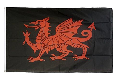 Flaggenfritze Fahne/Flagge Walisischer Drache schwarz + gratis Sticker