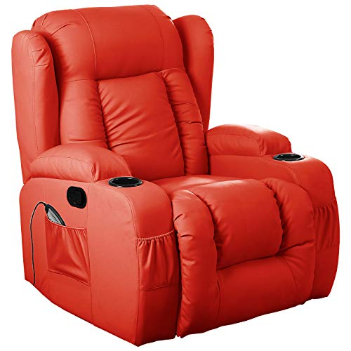 D PRO T 10 IN 1 WINGED LEATHER RECLINER CHAIR ROCKING MASSAGE SWIVEL HEATED GAMING ARMCHAIR (Red)
