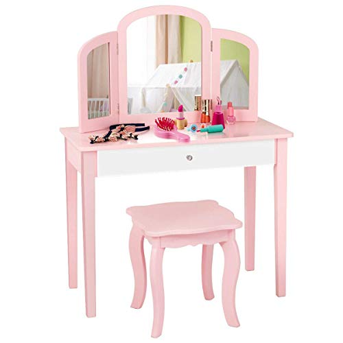 Costzon Kids Vanity Table, Princess Makeup Dressing Table with Drawer & Tri-Folding Mirror, 2-in-1 Vanity Set with Detachable Top, Pretend Beauty Play Vanity Set for Girls (Pink)