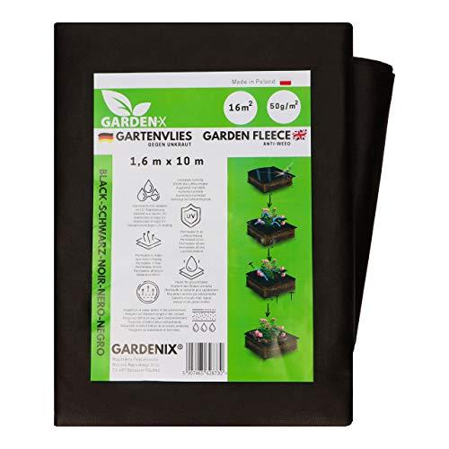 GARDENIX® 16 m² Anti Unkrautvlies 50g/m² ‒ Gartenvlies Hohe UV-Stabilisierung reißfest und wasserdurchlässig Schwarz (1,6m x 10m)