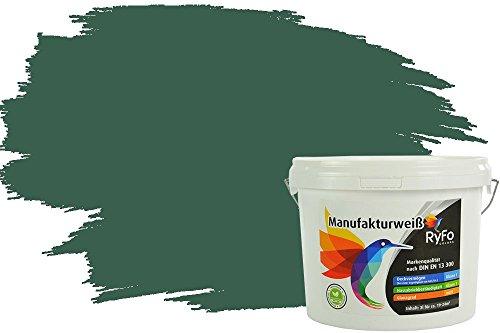RyFo Colors Bunte Wandfarbe Manufakturweiß Tannengrün 3l - weitere Grün Farbtöne und Größen erhältlich, Deckkraft Klasse 1, Nassabrieb Klasse 1