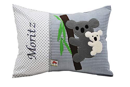 Glückspilz Namenskissen Babykissen I Koala I mit Namen personalisiert I Geschenk zu Geburt, Taufe oder Geburtstag I Verschiedene Farben (25 x 35 cm)