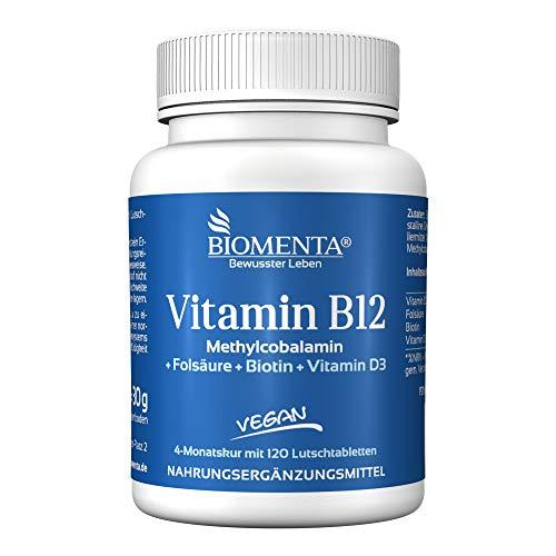 BIOMENTA Vitamin B12 hochdosiert – mit 500µg Methylcobalamin + Vitamin D3 + Biotin + Folsäure – vegan - 4 Monatskur - 120 Vitamin-B12-Lutschtabletten