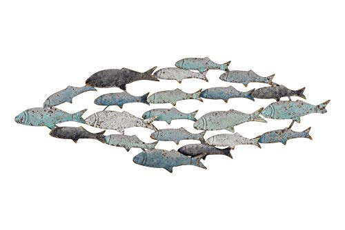 Creative Co-op DF0090-1 Metal School of Fish Wall Décor