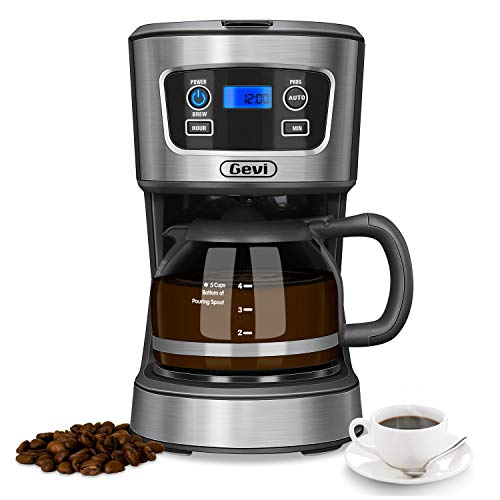 Gevi 5 Cup Coffee Maker, Small Programmable Brew Coffee Machine with Glass Carafe Pot, Automatic Start and Shut Off, Warming Plate, Black