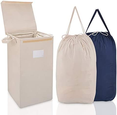 MCleanPin Laundry Hamper with Lid and 2 Removable Liners Collapsible Dirty Clothes Hamper for product image