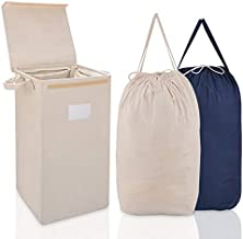 MCleanPin Laundry Hamper with Lid and 2 Removable Liners, Collapsible Dirty Clothes Hamper with 2 Handles, Foldable Baby Nursery Hamper Dorm Room Storage Laundry Bags for College, Beige