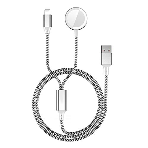 SEQI Cargador para Apple Watch, Cable de Carga Magnética USB para Apple Watch Series SE/6/5/4/3/2/1,38mm,40mm,42mm,44mm (Negro 2in1)