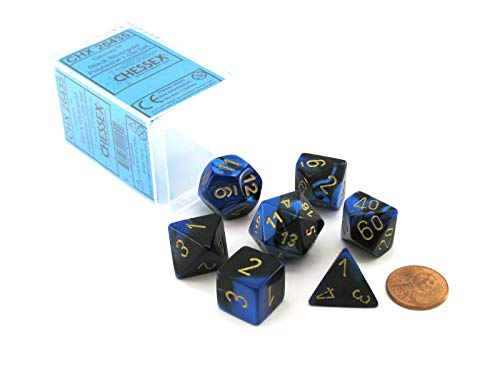 Chessex Dice FBA_26435 Polyhedral 7-Die Gemini Set - Black-Blue with Gold...
