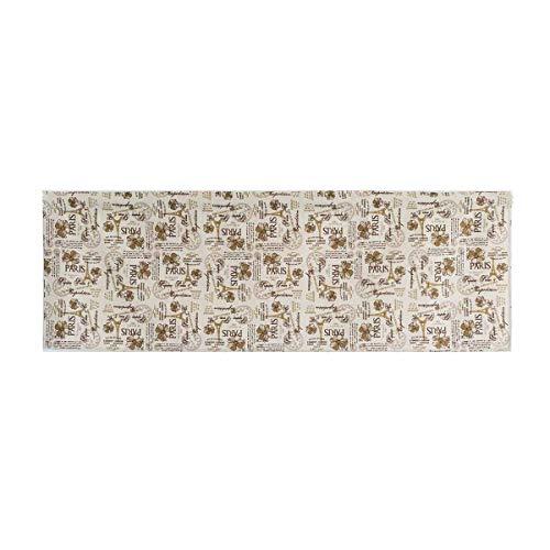 1 Pc Varilla Cortina Corta de Poliéster Decorativa para el hogar Media Cortina para Ventana Cortina para el hogar - 150x45cm (Beige Letras inglesas)
