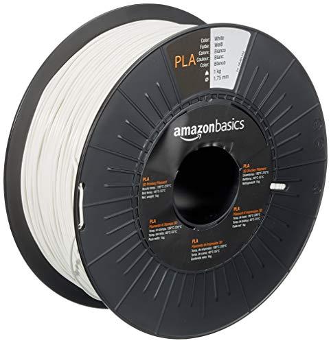 Amazon Basics Filament PLA pour imprimante 3D, 1,75mm, Blanc, Bobine, 1kg