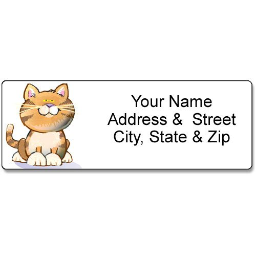Return Labels 1 x 2.625  Free US Shipping! 60 Black Cat Silhouette Personalized Self Adhesive  Address