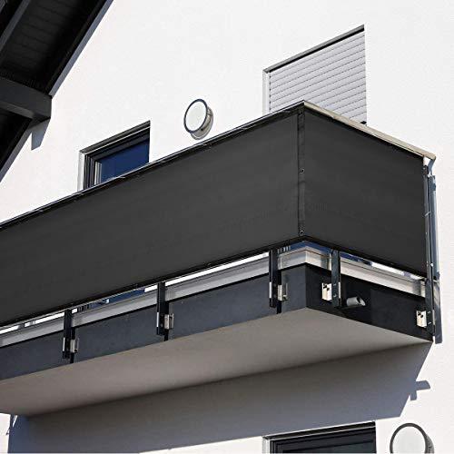 HOMPER Balkong insynsskydd 90 x 300/400/500/600 cm vindskydd nät staket solskydd väderbeständig HDPE integritetsskydd balkongskydd med buntband (svart)