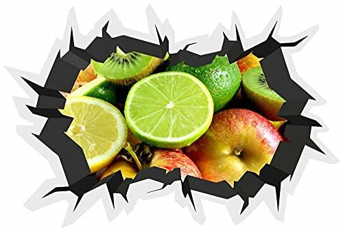 Etiqueta engomada de la ensalada de la fruta fresca de la grieta de la pared del efecto 3D cartel de la pared del vinilo carteles del regalo de cumpleaños 50x70cm