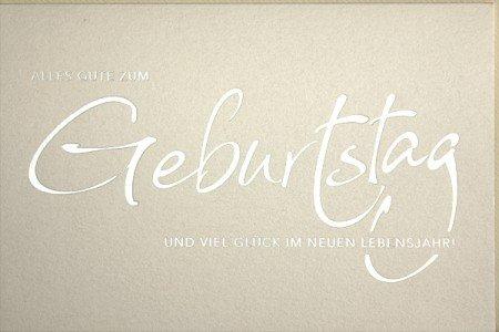 Geburtstagskarte für Damen hochwertig - Schrift Silber auf Perlmutt 12 x 17cm mit Kuvert