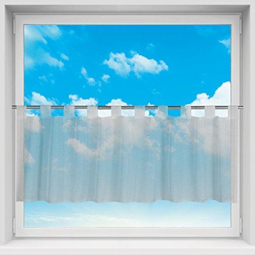 Transparant bistrogordijn voile met lussen, eenvoudige en moderne raamdecoratie in vele maten verkrijgbaar