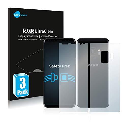Savvies 6X Schutzfolie kompatibel mit Samsung Galaxy S9 (Vorder + Rückseite) Bildschirmschutz-Folie Ultra-transparent