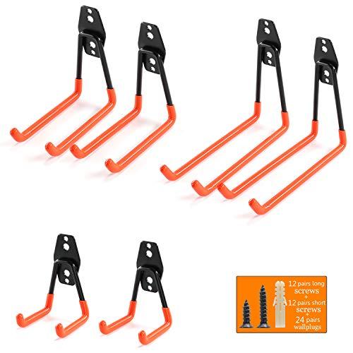 Heavy Duty Garage Storage Utility Hooks for Ladders & Tools, Wall Mount Garage Hanger & Organizer - Tool Holder U Hook with Anti-Slip Coating (6 Pack - Orange)