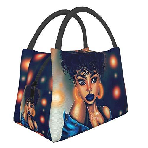 Zordalating Arte afroamericano con hombres afroamericanos mujeres bolsa bolsa de almacenamiento de almuerzo pequeño bolso de mano, oficina de compras/escuela/picnic/viajes/camping