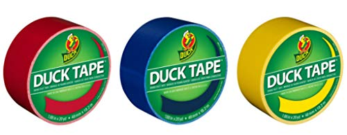 Duck Brand Color Duct Tape Primary Colors Combo 3-Pack, Red, Blue and Yellow, 1.88 Inches x 20 Yards Each Roll, 60 Yards Total