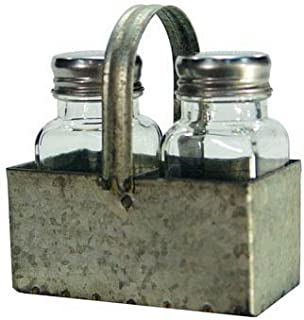 Galvanized Industrial Salt Pepper Shaker Set Caddy
