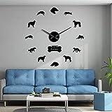 DIY Espejo Pegatinas números Modernos Relojes de Pared Ruso