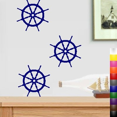 StikEez Blue Small Nautical Ships Wheel 3-Pack Boat Wall & Window Decal by StikEez
